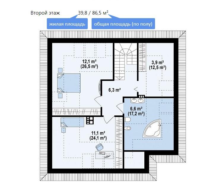 планировка мансардного этажа Z64 a