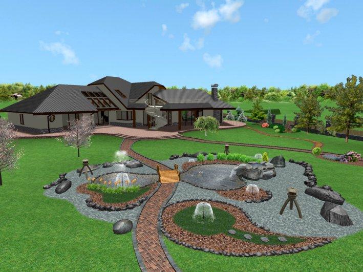 вариант ландшафтного дизайна с китайским садом